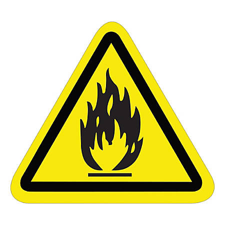 """Tape Logic Durable Triangle Safety Labels, DSL503, 2-1/4"""", Flammable Material, Black/Yellow, Pack Of 25 Labels"""