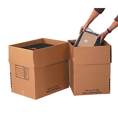 Office Depot® Brand Deluxe Moving Boxes, Combination Pack #2, Kraft, Pack Of 9